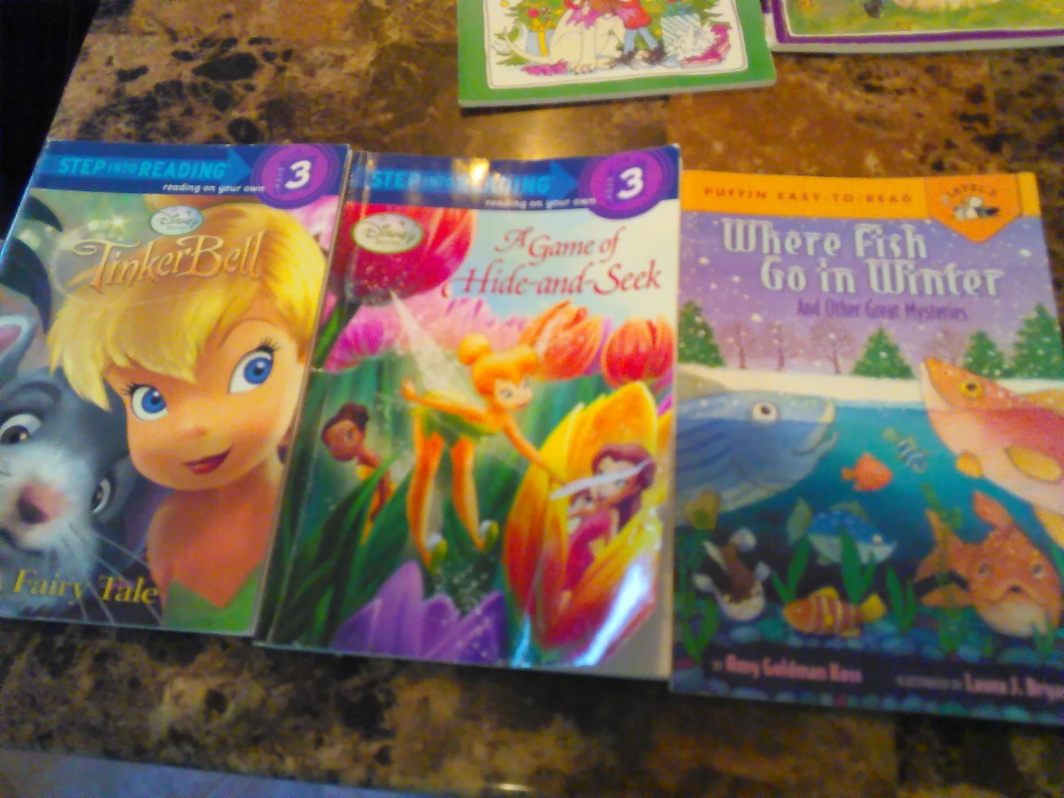 Tinker Bell; Hide and Seek Tinker Bell; Where do fish go in the winter (step 3 books)