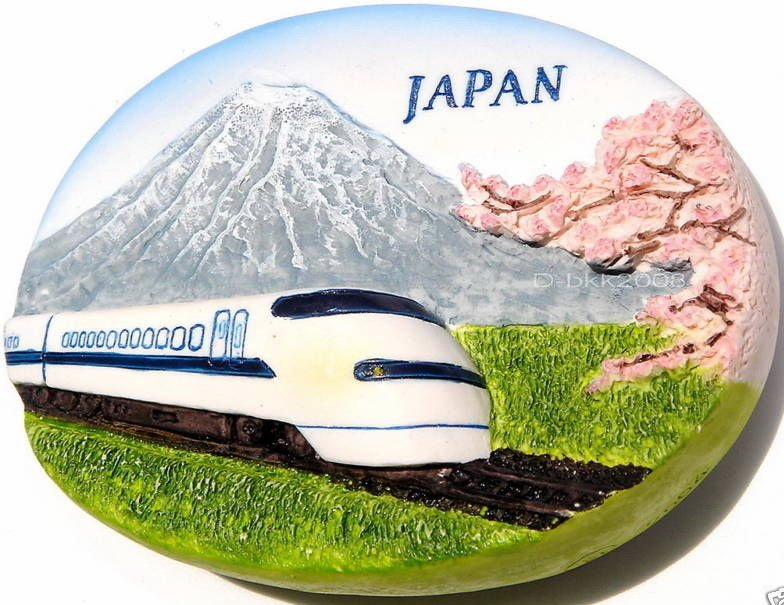 Bullet Train / Mt. Fuji, JAPAN , High Quality Resin 3D Fridge Magnet