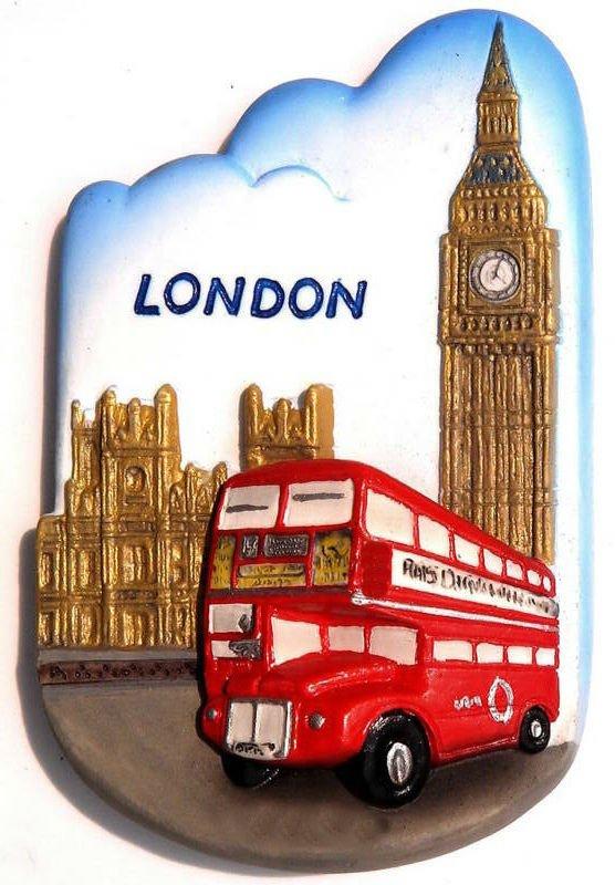 Bus Big Ben, LONDON United Kingdom, High Quality Resin 3D Fridge Magnet