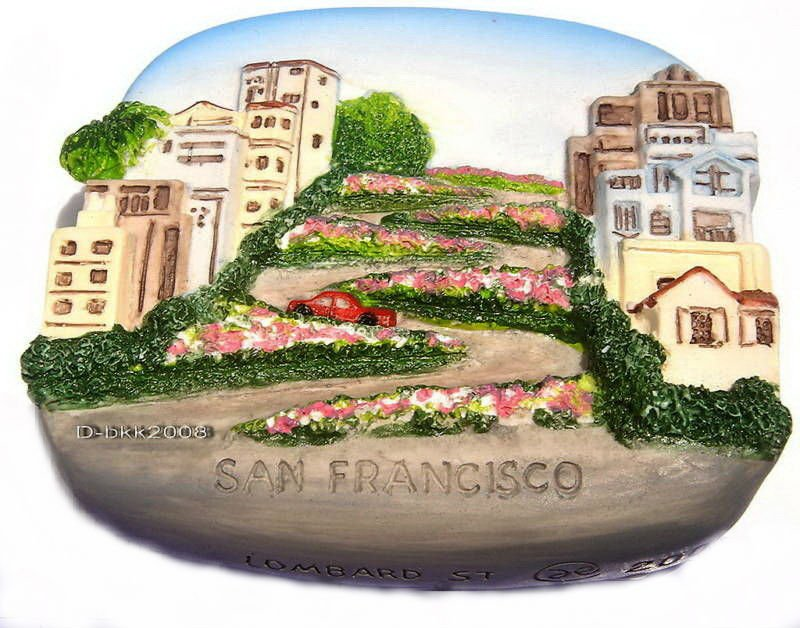 Souvenir Lombard St. SAN FRANCISCO United States, High Quality Resin 3D Fridge Magnet