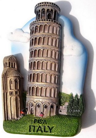 Souvenir Leaning Tower, PISA Italy, High Quality Resin 3D Fridge Magnet