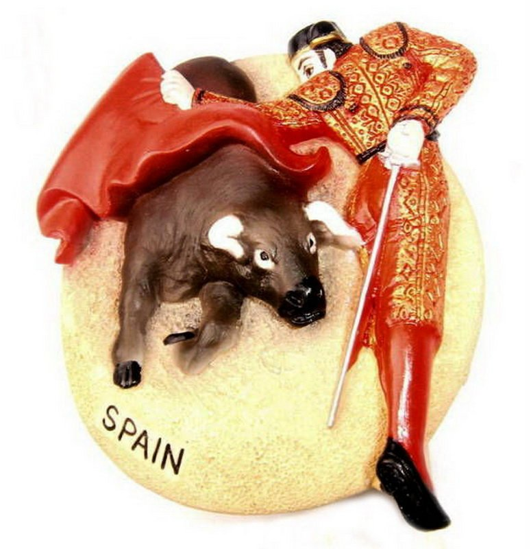 Souvenir Bullfighting, SPAIN , High Quality Resin 3D Fridge Magnet