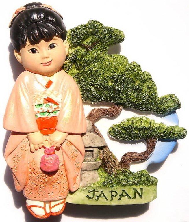 Resin Fridge Magnet: Japan - Japanese Girl in Kimono