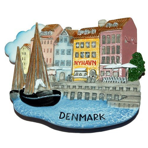 Nyhavn Harbor in Copenhagen Denmark Resin 3D fridge Refrigerator Thai Magnet Hand Made Craft