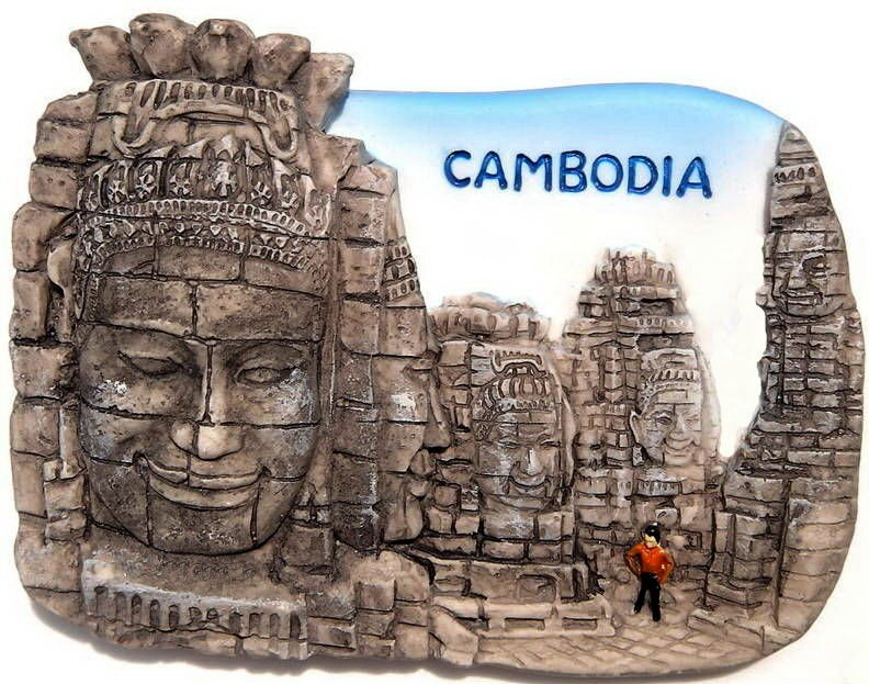 Souvenir Bayon, CAMBODIA , High Quality Resin 3D Fridge Magnet