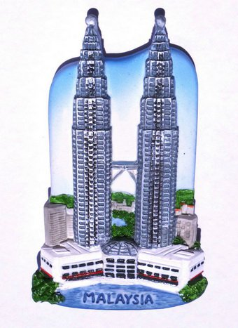 Souvenir Petronas Twin Tower, Malaysia, High Quality Resin 3D Fridge Magnet