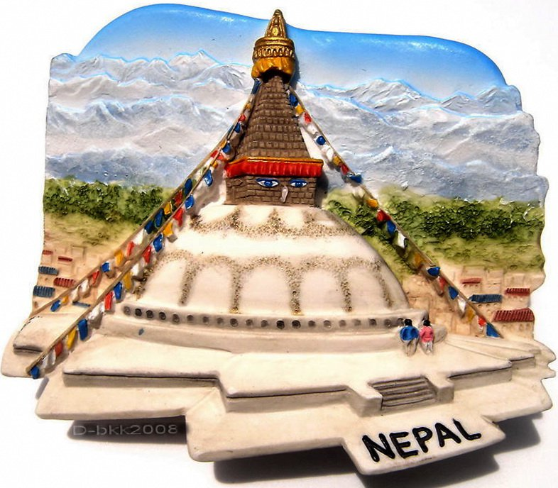 Souvenir Bouddhanath Stupa, NEPAL, High Quality Resin 3D Fridge Magnet