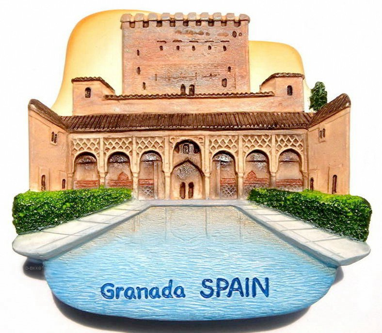 Souvenir Alhambra Palace, Granada, SPAIN, High Quality Resin 3D Fridge Magnet
