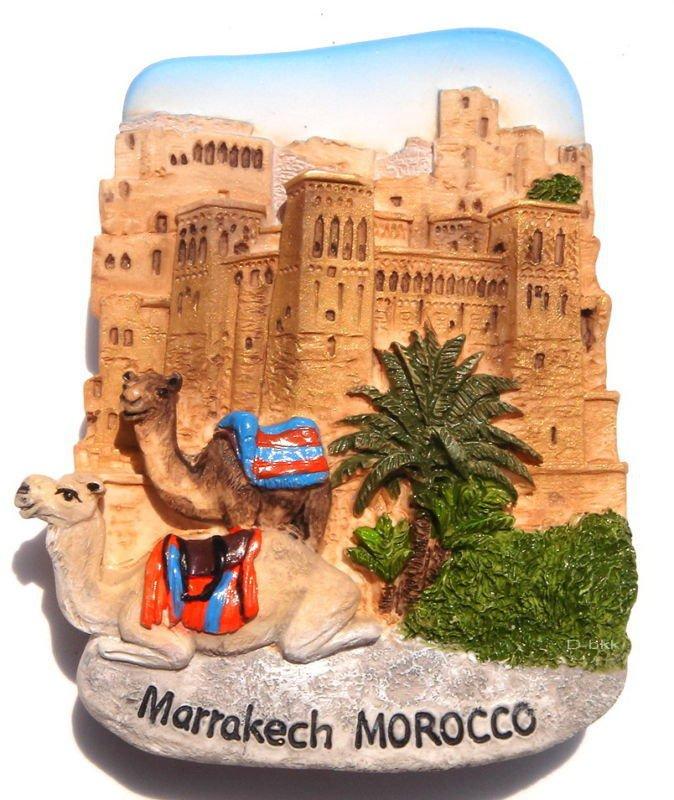 Souvenir Kasbah of Ait Ben Hadou, Marrakech, MOROCCO, High Quality Resin 3D Fridge Magnet