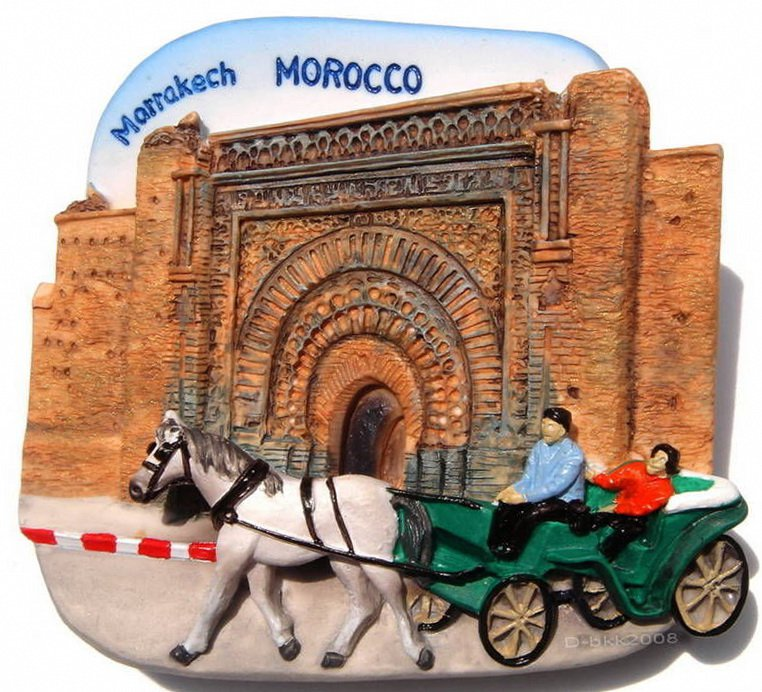 Souvenir Bab Agnaou, Marrakech, MOROCCO, High Quality Resin 3D Fridge Magnet