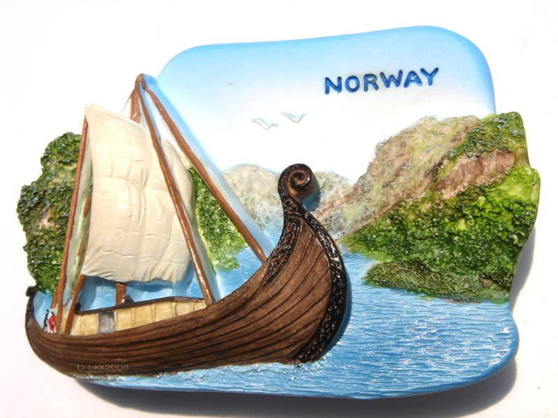 Souvenir Viking Ship, NORWAY, High Quality Resin 3D Fridge Magnet