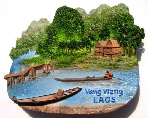 Souvenir Nam Song River, Vang Vieng, LAOS, High Quality Resin 3D Fridge Magnet