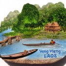 Souvenir Nam Song River, Vang Vieng, LAOS, High Quality Resin 3D Fridge Magnet