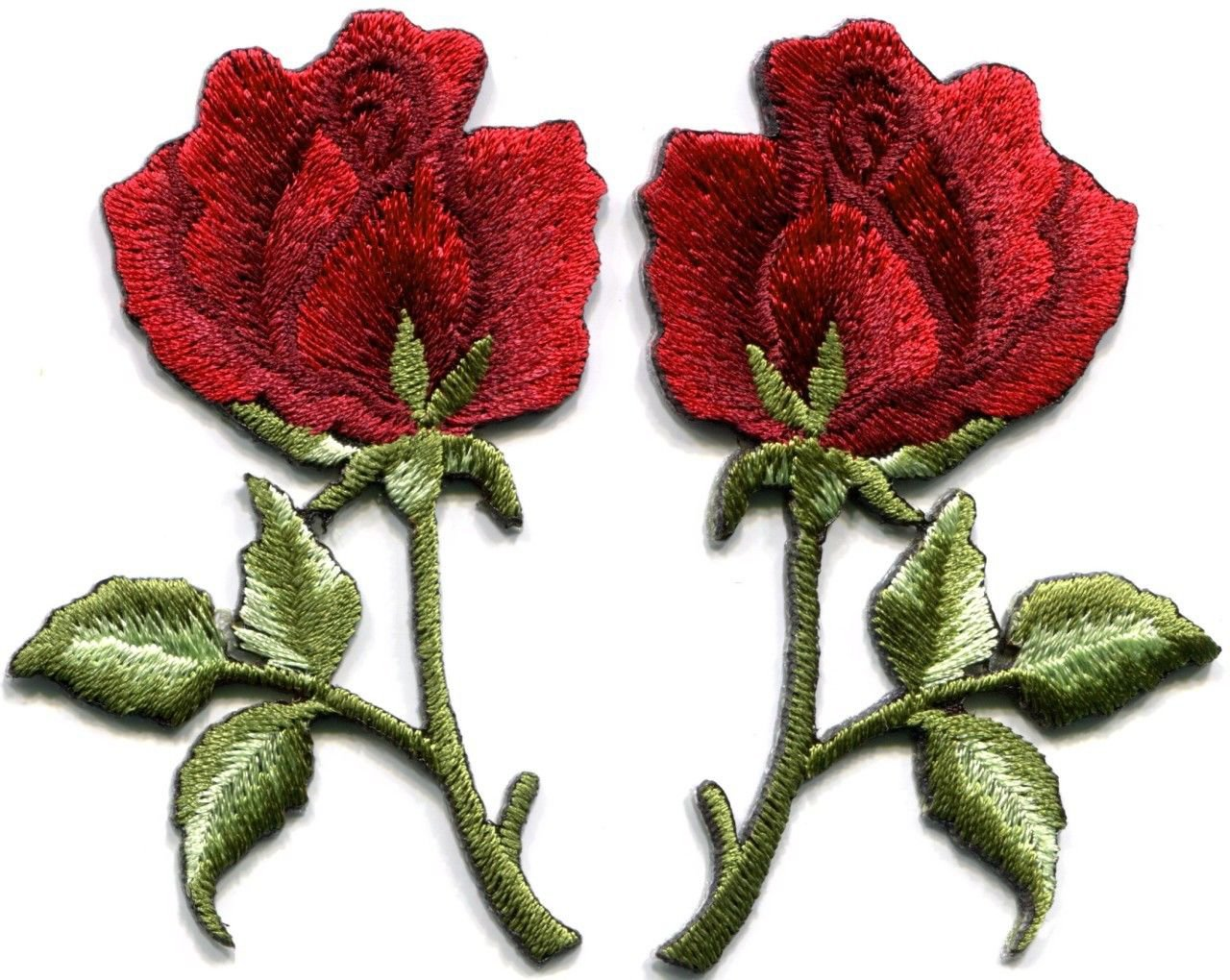Deep red roses pair flowers floral retro boho applique iron-on patches