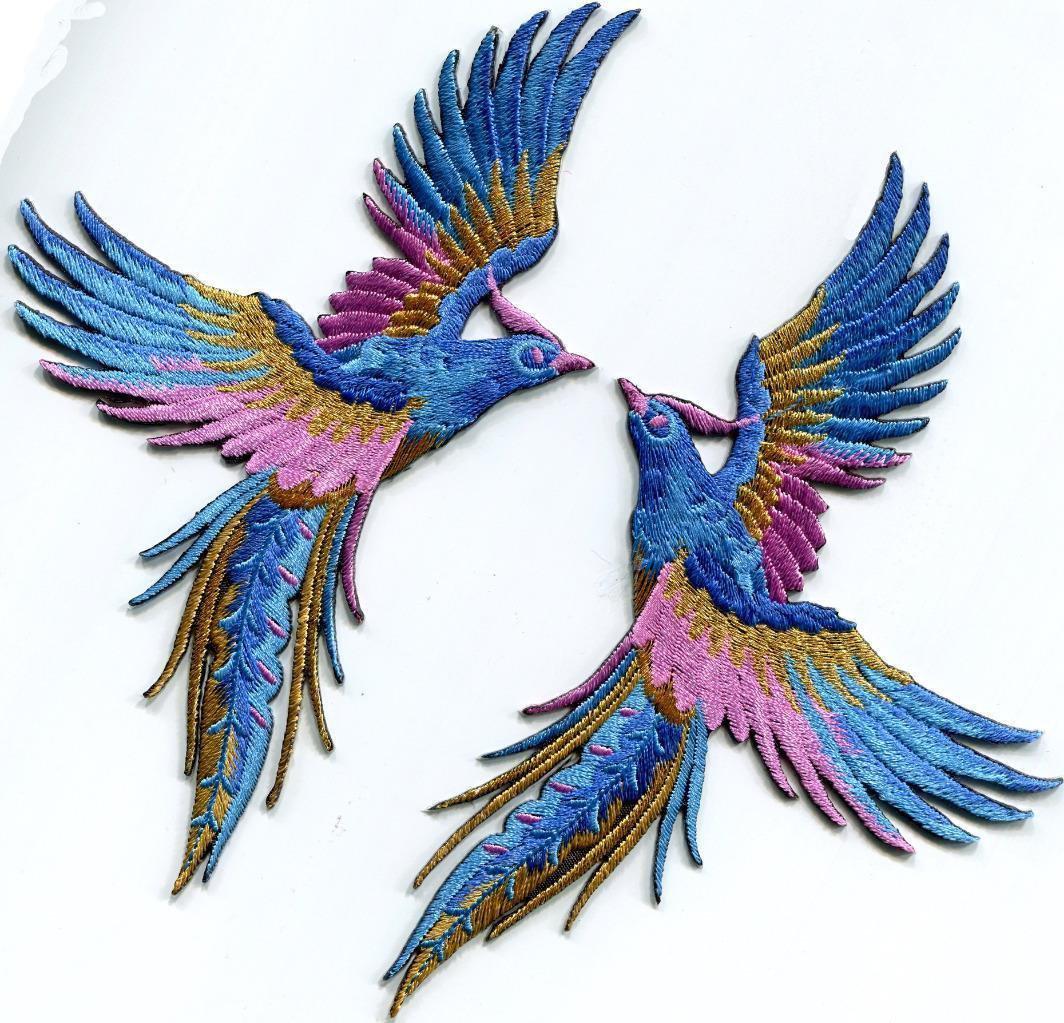 Phoenix phenix birds azure blue pink gold appliques iron-on patches