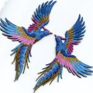 Phoenix phenix birds azure blue pink gold appliques iron-on patches