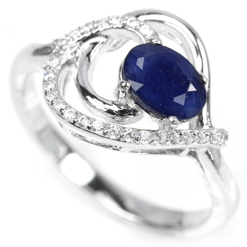 Genuine 1.27 carat Deep Blue Sapphire Diamond Solid Silver Heart Engagement Ring Valentines