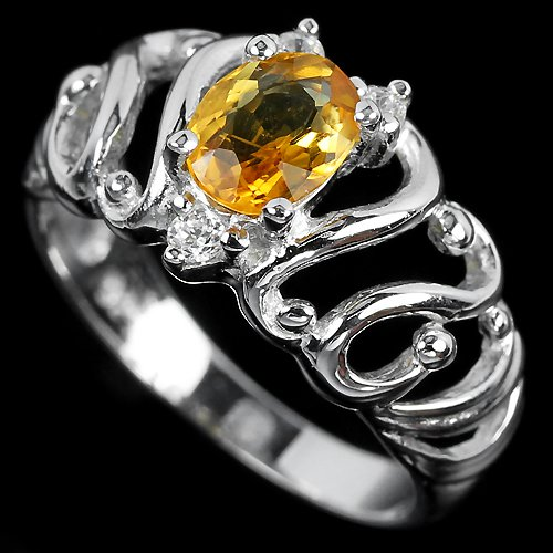 Ladies 0.7 carat Natural Citrine Simulated Diamonds 14K Gold Solid Sterling Silver Engagement Ring