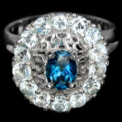 Ladies 3.1 Carat Natural Blue Topaz Solid 925 Sterling Silver 14K Gold Coated Halo Dress Ring