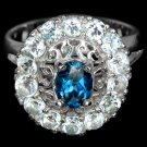 Ladies 3.1 Carat Natural Blue Topaz Solid 925 Sterling Silver 14K Gold Coated Halo Dress Ring
