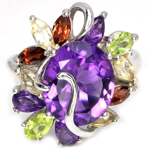 Ladies Large 4.5 carat Purple Amethyst Citrine Peridot Garnet Solid Silver Dress Ring Valentines