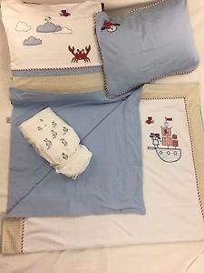 100% Cotton Jersey 4-Piece Baby Crib Bedding, Quilt Set-BRAVE PIRATES