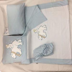 100% Cotton Jersey 4-Piece Baby Crib Bedding, Quilt Set-WHITE BEARS