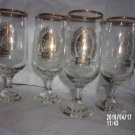 VINTAGE SET OF FOUR COORS BEER GOLD RIMMED FOOTED GLASSES