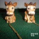 VINTAGE SET OF TWO CERAMIC DONKEY HEAD FIGURINES WITH CHAINS