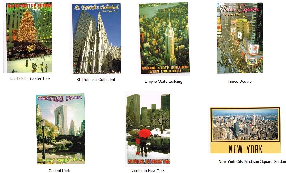 SET OF SEVEN VINTAGE ALFRED MAINZER NEW YORK CITY POSTCARDS MSG NY