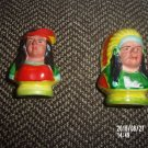 VINTAGE SET OF TWO NATIVE AMERICAN SALT AND PEPPER SHAKERS