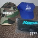 BRAND NEW LOT OF THREE AQUEDUCT RACETRACK ITEMS TWO CAPS SCARF HORSE RACING