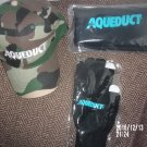 BRAND NEW LOT OF THREE AQUEDUCT RACETRACK ITEMS CAP SCARF GLOVES HORSE RACING