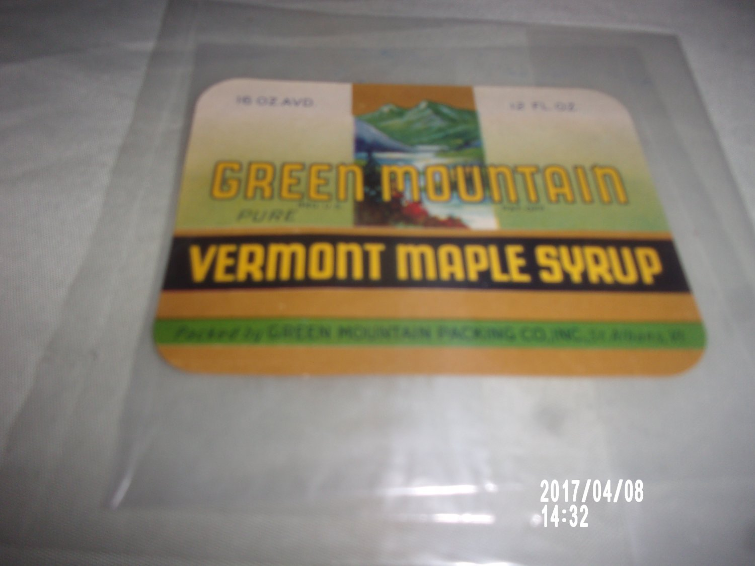 VINTAGE GREEN MOUNTAIN VERMONT MAPLE SYRUP PAPER LABEL