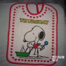 VINTAGE SNOOPY PEANUTS THURSDAY BABY BIB