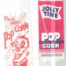 VINTAGE LOT OF TWO POPCORN BAGS  JOLLY TIME  CIRCUS