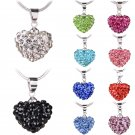 Fashion Women Pendant Jewelry Crystal Heart Silver Plated Necklace+Chain
