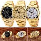 Fashion Men's Luxury Gold Dial Stainless Steel Band Analog Quartz Wrist Watch
