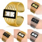 New Fashion Women Girls rectangel Cuff Bangle Bracelet Quartz Wrist Watch