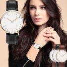 Men's Golden Silver Womens Fashion Classic Leather Strap Quartz Wrist Watches