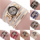 Women Rivet Braided Watch Bracelet Leather Dress Analog Quartz Wrist Watch