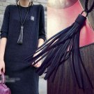 Fashion Women Jewelry Black Leather Tassel Pendant Long Sweater Chain Necklace