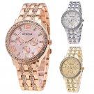 Geneva Women Lady Gold Dial Crystal Rhinestone Steel Quartz Wrist Watch