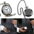 Luxury Black/Silver Smooth Quartz Pocket Watch Necklace Pendant Women Men GIft