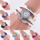 Women's Fashion Bracelet Watch Crystal Wing Leather Strap Quartz Dress Watches