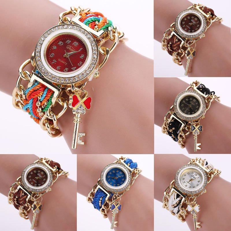 New Fashion Women's Ethnic Braided Rhinestone Bracelet Analog Quartz Wrist Watch