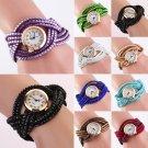 Fashion Women Casual Crystal Band Wrap Bracelet Quartz Dial Analog Wrist Watch