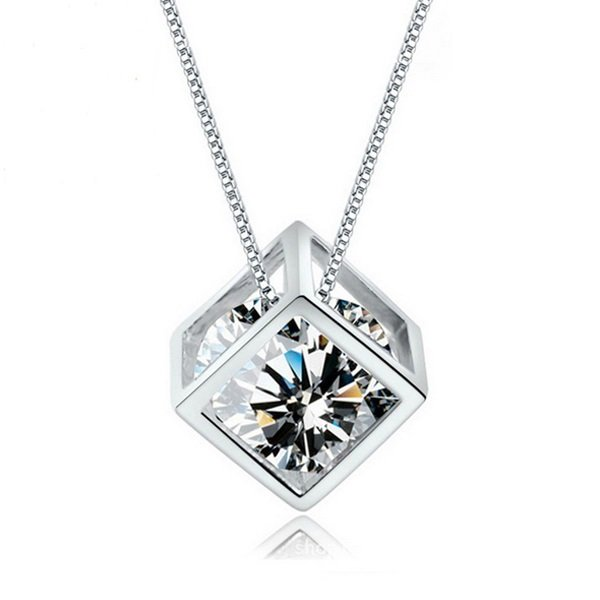 1 Pc Hot Women's 925 Sterling Silver Chain Crystal Rhinestone Pendant Necklace