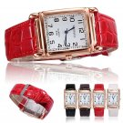 New Fashion Men Women Leather Band Square Dial Quartz Watches Wrist Watch Hot