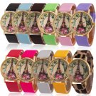 Fashion Women's Rose Flower Eiffel Tower Faux Leather Analog Quartz Wrist Watch